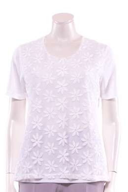 Off white t-shirt med blonde blomster